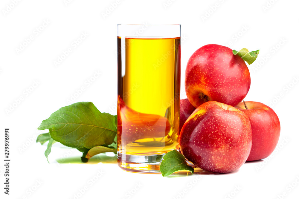 Fototapeta Glass of apple juice and red apples isolated on a white background.