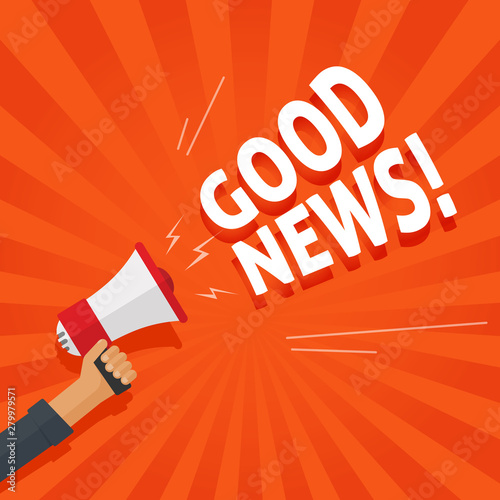 Obraz Good news information alert from hand with megaphone or loudspeaker vector illustration, flat cartoon announce notification sign image - fototapety do salonu