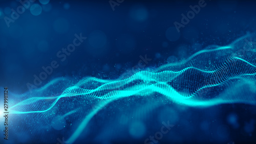 Blue color digital particles wave flow cyberspace abstract technology background concept - 279981124