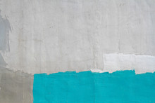 Colorful (gray, Turquoise And White) Concrete Wall As Background, Texture