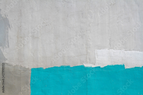 Poster Graffiti Colorful (gray, turquoise and white) concrete wall as background, texture