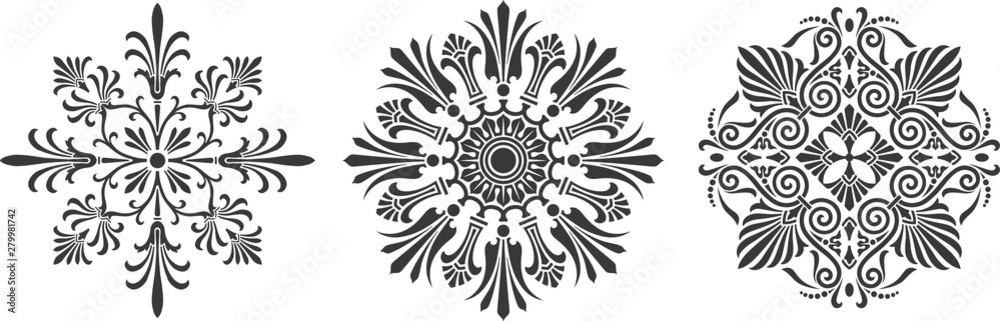 Ornamental round floral patterns. Rosette ornaments.