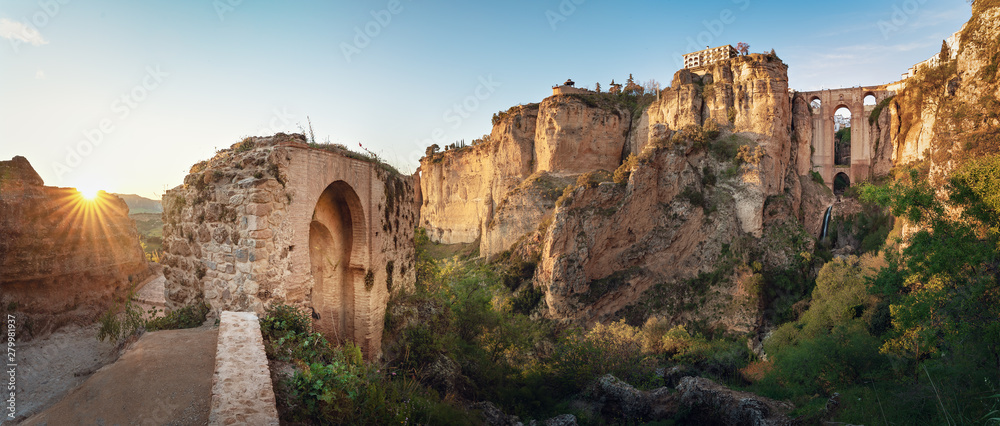 Fototapety, obrazy: Panoramic view of Ronda Puente Nuevo Bridge at sunset - Ronda, Malaga Province, Andalusia, Spain