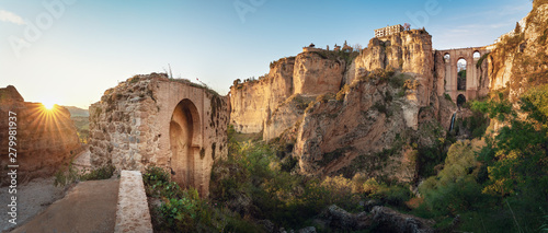 Panoramic view of Ronda Puente Nuevo Bridge at sunset - Ronda, Malaga Province, Wallpaper Mural