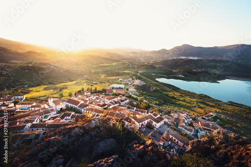 Aerial view of Zahara de la Sierra city at sunset - Zahara de la Sierra, Cadiz Province, Andalusia, Spain