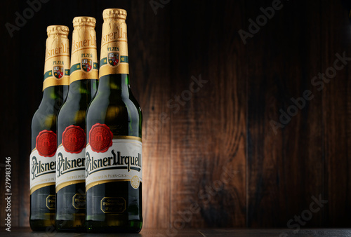 Bottles of Pilsner Urquell beer - Buy this stock photo and explore