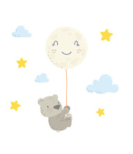 Cute Bear Is Flying In A Moon Balloon Cartoon Flat Vector Illustration For Kids. Perfect For T-shirt Print, Nursery Textile, Kids Wear Fashion Design, Baby Shower Invitation Card.