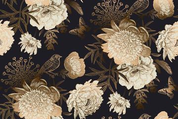 Panel Szklany Vintage Peonies, bird and butterflies. Luxury seamless pattern.