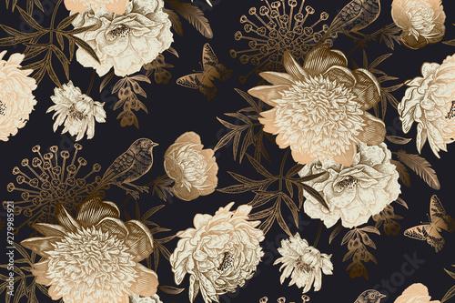 Obrazy do sypialni  peonies-bird-and-butterflies-luxury-seamless-pattern