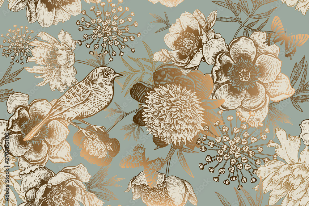 Seamless pattern with peonies, bird and butterflies. Vintage.
