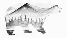 Beautiful Winter Art Bear Silh...
