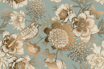 Fototapeta Vintage Seamless pattern with peonies, bird and butterflies. Vintage.