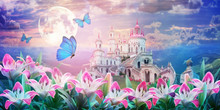 Floral Summer Fantastic Landscape With  Pink Lilies Flowers  And Fluttering Butterflies. Beautiful Old Castle. Dreamy Gentle Wonder Air Artistic Image. Summer Template, Artistic Image, Free Space