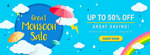 Great Monsoon Sale Banner Vector Illustration. Rainy Season Promotion