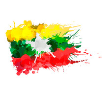Flag Of Republic Of The Union Of Myanmar Made Of Colorful Splashes