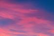 canvas print picture - Rosa Wolken am Abendhimmel