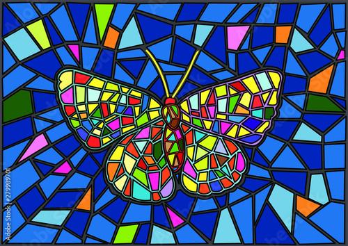 Obraz na plátně Butterfly Stained glass Mosaic blur background illustration vector