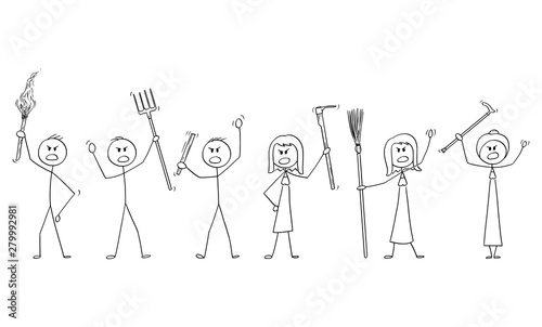 Obraz na plátně Vector cartoon stick figure drawing conceptual illustration of set of angry mob characters with torch and tools like pitchfork as weapons
