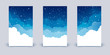 Set of vertical banners with clouds and shiny stars on night sky