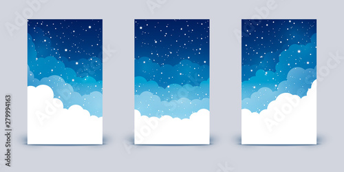 Obraz Set of vertical banners with clouds and shiny stars on night sky - fototapety do salonu