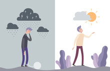 Happy And Unhappy Man Characters. Mental Human Health Vector Illustration. Unhappy Sad Human Emotion, Happy And Depressed