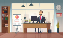 Director Office. Interior Businessman Sitting At The Table Vector Office Cartoon Picture. Office Desk, Manager Room, Interior, Of Director Cabinet Illustration