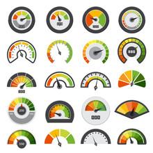 Speedometers Collection. Symbols Of Speed Score Measuring Tachometer Level Indices Vector Collection. Illustration Of Speedometer Indicator, Speed Meter Measurement