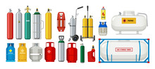 Gas Tanks. Compressed Oxygen Propane Dangerous Cylinder Tanks Vector Cartoon Collection. Propane In Cylinder, Compressed Gas Illustration