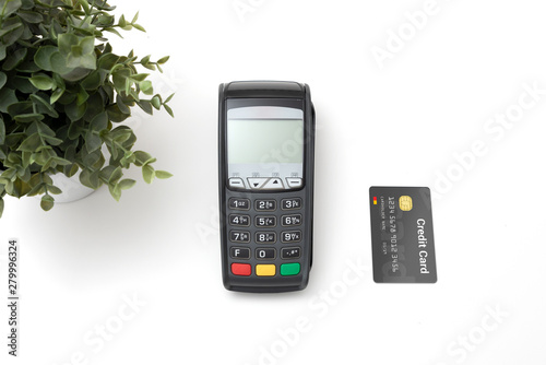 Payment terminal with credit card top view Wallpaper Mural
