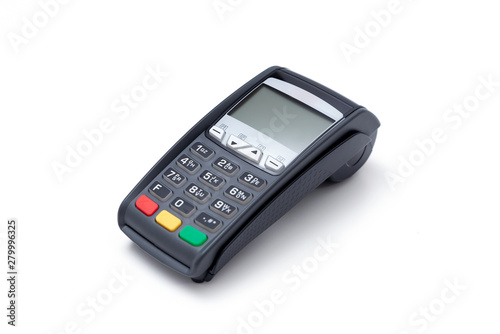 Photo Credit card terminal on white background