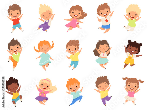 Jumping kids. Happy funny children playing and jumping in different action poses education little team vector characters. Illustration of kids and children fun and smile