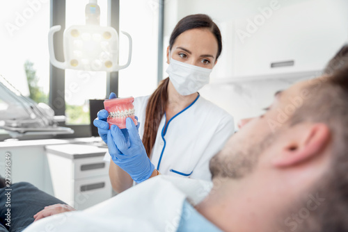 Female dentist with jaw samples tooth model