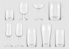 Transparent Drink Glass. Cup For Alcoholic Drinks Crystal Empty Glass Vector Realistic Collection. Empty Realistic Glass Transparent For Bar And Drink Illustration