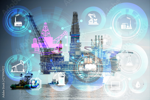 Fototapeta Concept of automation in oil and gas industry obraz