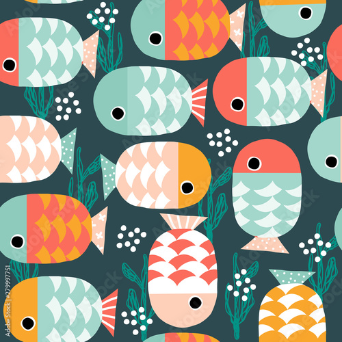 fototapeta na szkło Seamless pattern with cute fishes underwater. Kids cute print. Vector hand drawn illustration.