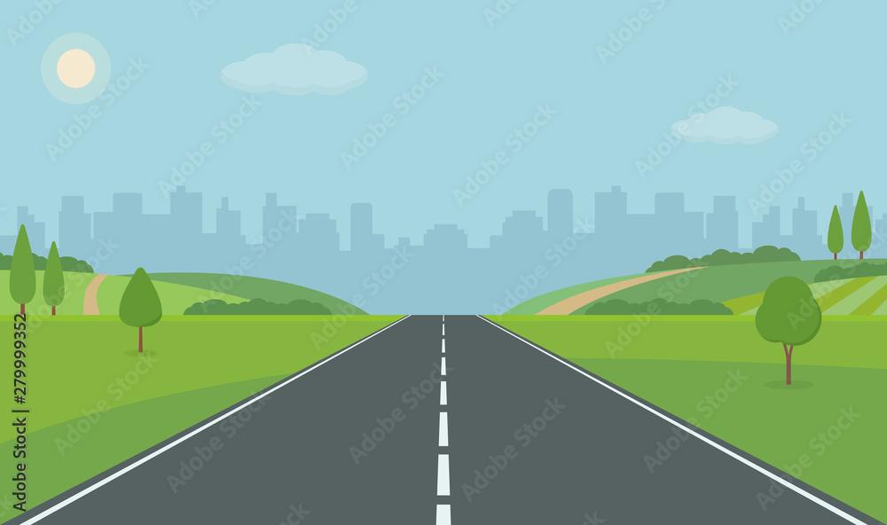 Fototapeta Road To City. Straight empty road through the meadow. Summer landscape vector illustration. - obraz na płótnie