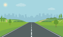 Road To City. Straight Empty Road Through The Meadow. Summer Landscape Vector Illustration.