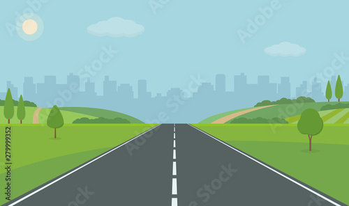 Obraz Road To City. Straight empty road through the meadow. Summer landscape vector illustration. - fototapety do salonu