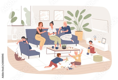 Fotografija Group of female friends sit on comfy sofa, drink tea and chatter while their children play