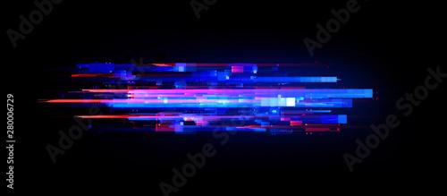 Fototapeta Led Light. luma effect. Future tech. Glare cubes. Digital signal. .Shine grid. Modern big data. Neon flare. Quantum computer net system. Magic code. Grid lines. Vivid frame. Web device. Blocks system. obraz
