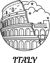 Coliseum In Rome, Italy Vector. National Sight. Outline Building. Collection Of Popular Landmarks. Famous Silhouette. Travel Button Or Background.