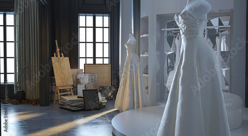 Wedding dress atelier in an elegant Victorian building, with display of wedding Canvas Print