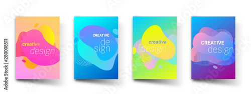 Abstract pattern backgrounds, modern liquid color gradients and cover title templates. Vector geometric pattern graphic art design, trend backgrounds - 280008511