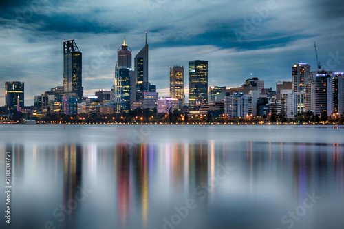 Perth City Reflections at Dusk on Cloudy Night