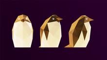 Gold Penguin. Shiny Metallic Set Of Golden Penguins On Purple Background. Low Poly Vector 3D Rendering