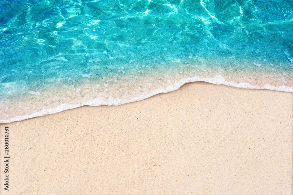 Fototapety, obrazy: Soft blue ocean wave on clean sandy beach
