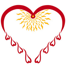 Red Heart, Bird, Drops And Shi...