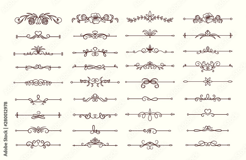 Fototapety, obrazy: Vintage text dividers collection. Ornate floral decorative elements vector set
