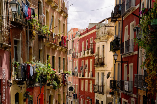 Fotografie, Obraz Colourful parallel row houses in Cagliari in Italy (Sardinia)