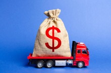 Red Truck Carries A Big Bag Of Money. Attracting Investment In Development And Modernization Of Production And Business Projects. Revenue Profit. Super Profit. Corruption Schemes. Financial Groups